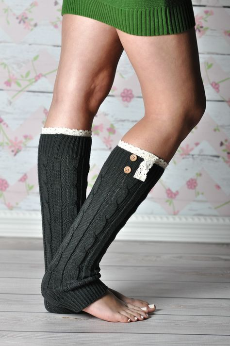 Dark Gray Braided Leg Warmers with Lace Rim