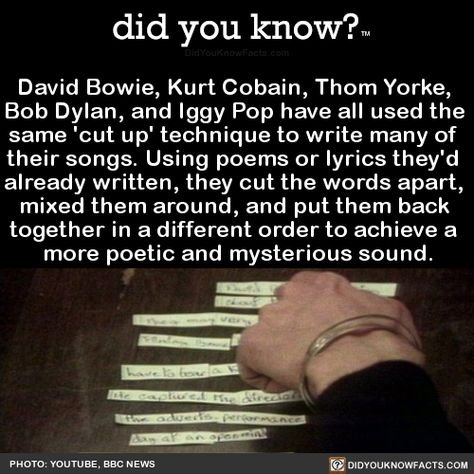 did you know? - David Bowie, Kurt Cobain, Thom Yorke,  Bob Dylan,...