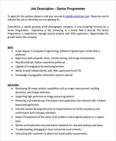 Senior Programmer Job Description Duties Job Description
