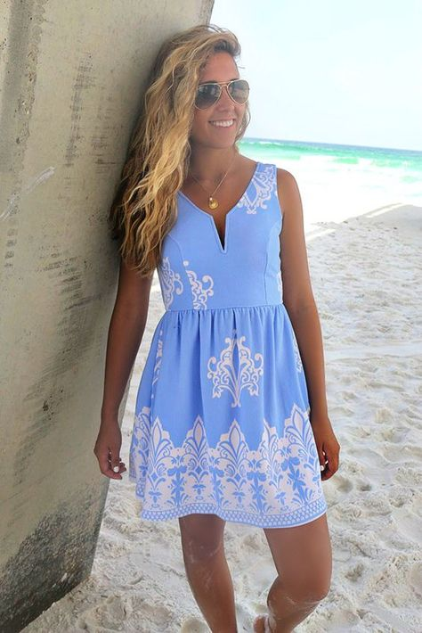 beachy but could totally be turned into a brunch outfit. Maracas Beach Blue Printed A-Line Dress – Amazing Lace