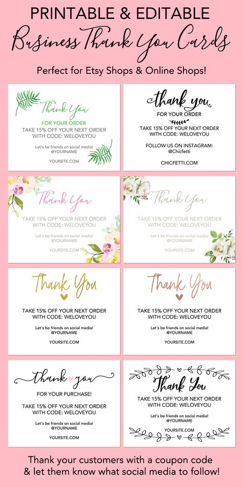 Printable Thank You Cards For Your Business Print Your Own Thank