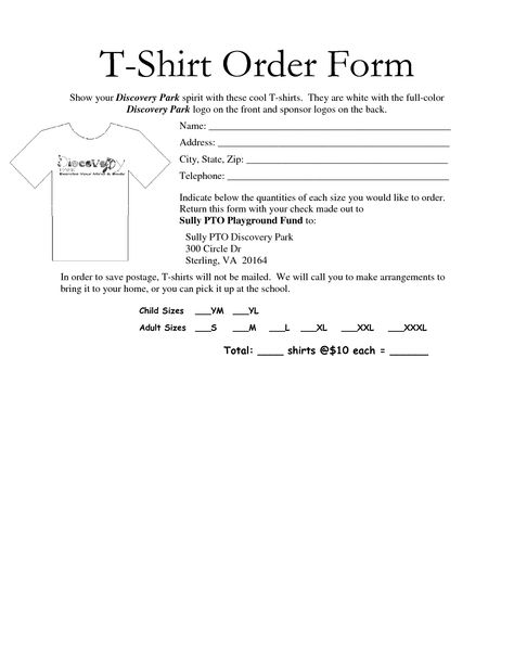 35 Awesome t-shirt order form template free images My BizNess - blank sponsor form
