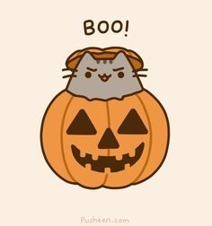 Halloween - Pusheen in the Halloween Pumpkin. So funny and adorable in the same time! Chat Pusheen, Pusheen Love, Pusheen Stuff, Crazy Cat Lady, Crazy Cats, Chat Halloween, Kawaii Halloween, Halloween Drawings, Halloween 2014