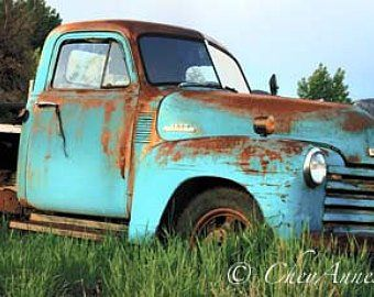 Two Old Rusty Winter Vintage Taos Trucks Turquoise N Rust Chevy