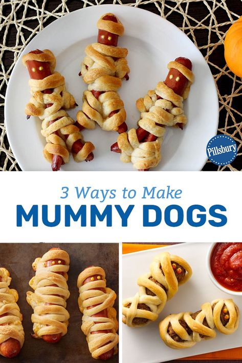 Ways to Make Mummy Dogs These kid-friendly mummy dogs are the perfect way to celebrate Halloween with the whole family this year.These kid-friendly mummy dogs are the perfect way to celebrate Halloween with the whole family this year. Plat Halloween, Halloween Party Treats, Hallowen Food, Halloween Appetizers, Halloween Dinner, Halloween Food For Party, Halloween Desserts, Spooky Halloween, Halloween Makeup