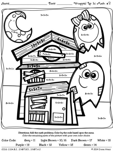 Color By The Number Code Wrapped Up In Math Halloween Addition Puzzles Halloween Math Math Coloring Worksheets Math Coloring