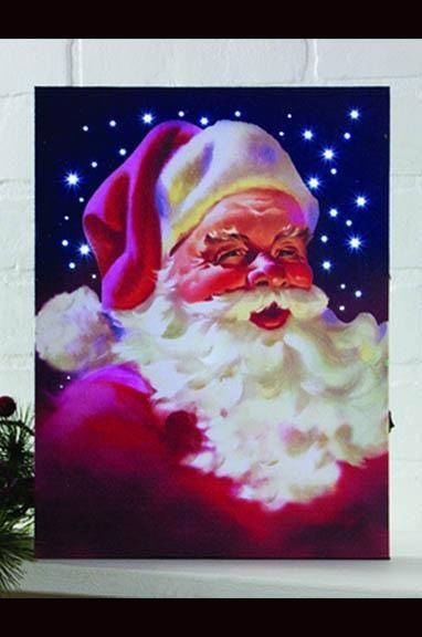 Lighted Vintage Santa Canvas With Timer Light Up Canvas Santa Canvas Lighted Canvas