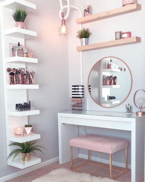 """Perfête ®️ on Instagram: """"Gorgeous pink and rose gold vanity inspiration for your Perfete home via @ddelasoul.  Vanity: @ikeausa Mirror: @target Wooden Shelves:…"""""""