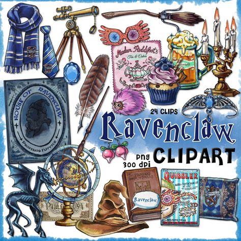 Ravenclaw clipart, Harry Potter clipart, Harry potter party, Hogwarts house, printable journal, planner stickers, Luna Lovegood, scrapbook by Cutoutandplay, $3.75 USD