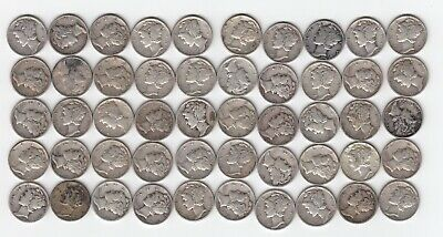 Lot of 50 Coins $5.00 Face 90/% FREE POSTAGE   1 Roll Mercury Silver Dimes
