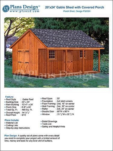 20 X 24 Shed With Porch Guest House Cottage Or Cabin Building Plans Material List Included P5202 Shed With Porch Cottage Garden Sheds Guest House Cottage