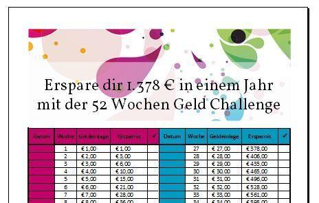 53 Wochen Geld Challenge Inkl Vorlage 2020 52 Wochen Sparplan Geld 52 Wochen Sparen