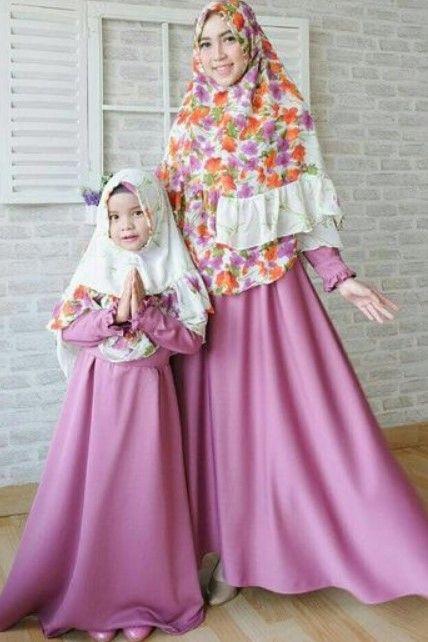 Model Baju Gamis Couple Ibu Dan Anak Terbaru Motif Bunga Lavender