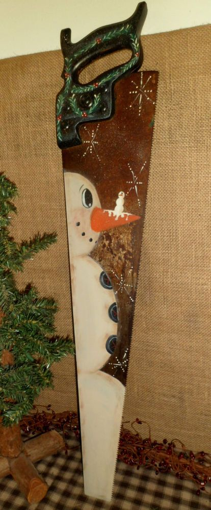 Primitive Wood Vintage Hand Saw Hand Painted Snowman Christmas