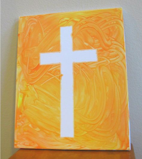 tape resist cross painting for kiddos
