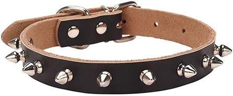Black Leather With 12 Spike Choker Necklace Collar 34 Wide DSCK134