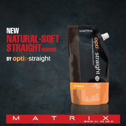 Matrix permanent hair straightening treatment for naturally soft and straight hair.