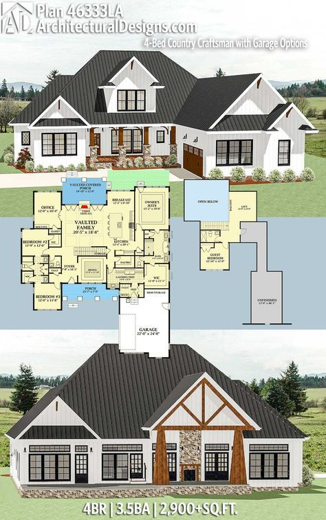 Plan 46333la 4 Bed Country Craftsman With Garage Options Craftsman House Plans Craftsman House Plan New House Plans
