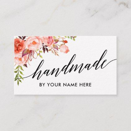 Calligraphy Watercolor Coral Floral Hand Made Business Card