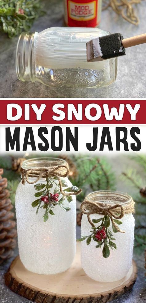 A fun, easy and beautiful holiday craft project for adults! These DIY snowy mason jars make for such pretty Christmas decor and holiday gifts. Simple mix together epsom salt with glitter and use it to cover a mod podge covered jar. Wrap some pretty twine and garland around the rim for the finishing touch. They really are magical when lit up at night with an battery operated tea light or even fairy lights. In fact, I think this Christmas project is charming enough to give away as gifts.