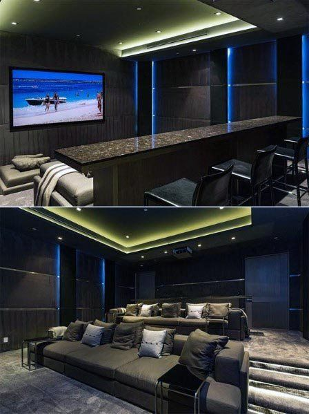 Top 40 Best Home Theater Lighting Ideas Illuminated Ceilings And Walls In 2020 Home Theater Lighting Home Theater Design Basement Remodeling