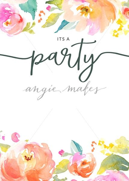 Blank Party Invitation With Watercolor Flowers Border Cute You Re