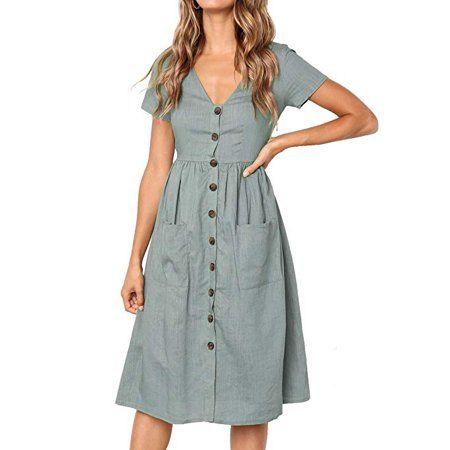 Vista Women S Summer Short Sleeve V Neck Button Down Swing Midi Dress With Pockets Walmart Com In 2020 Midi Short Sleeve Dress Mid Dresses Summer Dresses For Women