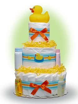 This baby diaper cake makes a perfect gift for little boys or girls. This cake is made of  three layers of premium diapers topped with a rubber duck who is ready for bathtime products. Only $55.00