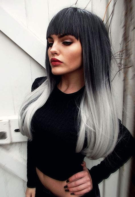 NEW STYLE 2015 - Black Grey Silver Ombre Dipdye Gothic Lolita Cosplay Lush Wig - Worldwide Tracked Delivery