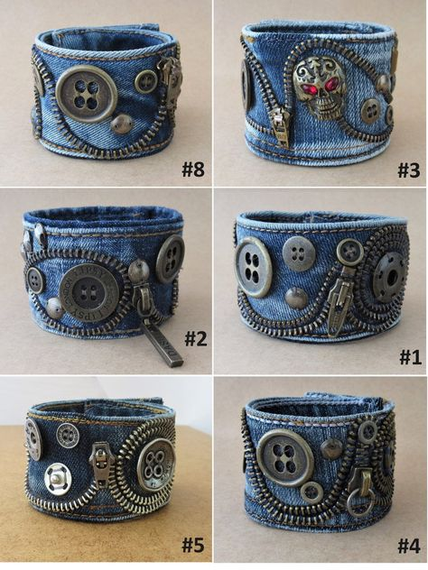 Industrial zipper bracelet, Unisex denim cuff with rivets, Jeans accessory for him, All denim style, Post Apocalyptic / - adornos de jeans Bracelet Denim, Zipper Bracelet, Denim Earrings, Zipper Jewelry, Fabric Jewelry, Jewelry Necklaces, Bullet Jewelry, Gemstone Bracelets, Jean Crafts