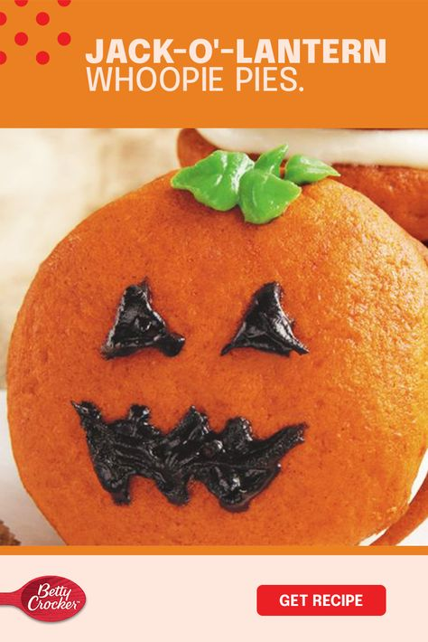 Go from Halloween to Hallo-winning this year with the always-awesome Jack-o'-lantern Whoopie Pies. All it takes is some pumpkin, Betty Crocker cake mix, a yummy helping of cream cheese and Betty Crocker icing. The rest is up to you. So mix it, work it and make a marvelous mess creating a delicious-tasting, scary-looking treat that will decorate your dessert table this frightening season.