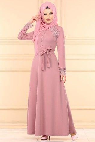 P L Dantel Detay Tesettur Elbise Pl828 Pudra 1 Model Pakaian Hijab Pakaian Wanita Model Pakaian