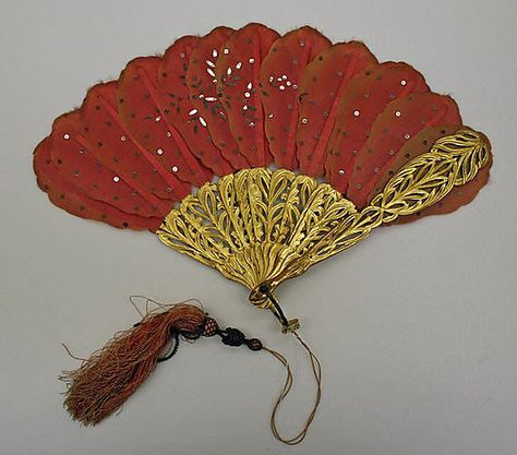 Fan 1868, French, Made of silk