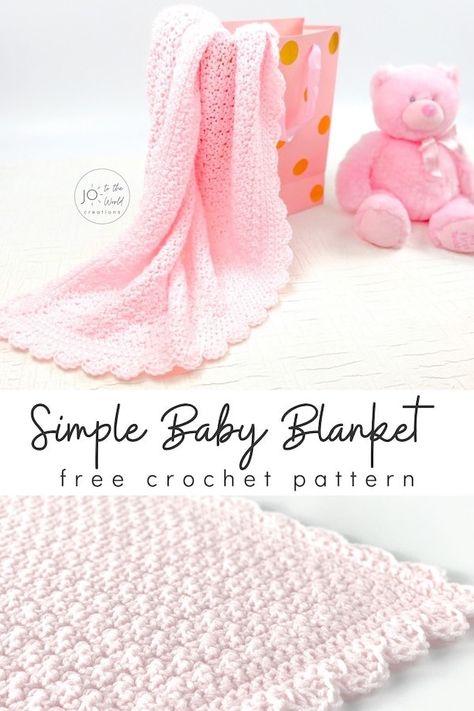 Free Baby Blanket Patterns, Crochet Baby Blanket Free Pattern, Easy Baby Blanket, Soft Baby Blankets, Baby Patterns, Crochet Blankets, Double Crochet Baby Blanket, Fast Crochet, Beginner Crochet