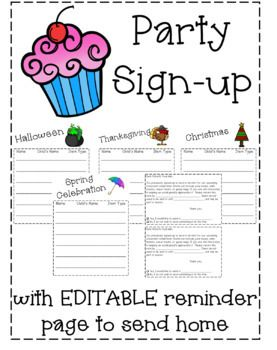 Classroom Party Sign Up Editable Classroom Party Classroom Holiday Party Classroom Volunteer