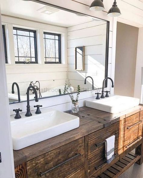 If you are looking for Farmhouse Bathroom Vanity Decor Ideas, You come to the right place. Here are the Farmhouse Bathroom Vanity Decor Ideas. Bathroom Styling, Farmhouse Style Bathroom Decor, Bathroom Remodel Master, Master Bathroom Decor, House Bathroom, Farmhouse Bathroom Vanity, Rustic Bathroom Vanities, Rustic Master Bathroom, Bathroom Farmhouse Style