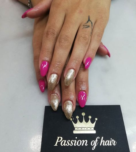#passion_of_hair #passion #nails #pink #gold #golden #wednesday #tattoo #dafni #nail #instalike #instapic