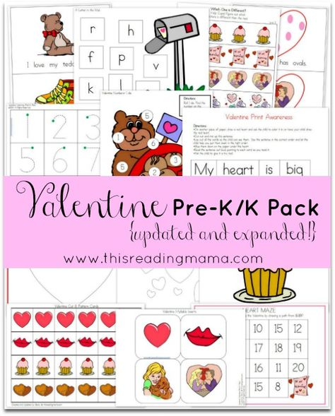 FREE Valentine Pre-K/K Pack {Updated and Expanded!} ~ with TWO beginning readers, phonics activities, rhyming fun, and a book list for read aloud time | This Reading Mama