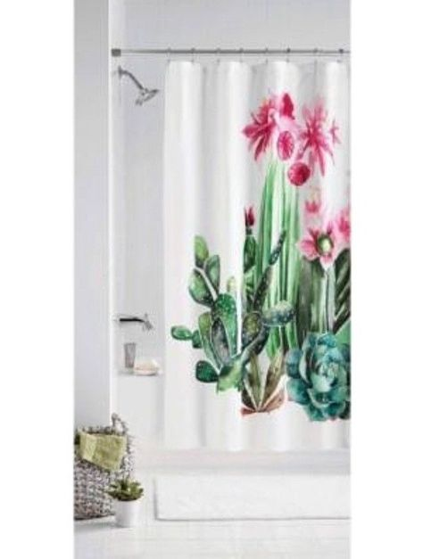 Bath 115624 Fabric Shower Curtain Cactus Flower Print 70 X 72 By Mainstays BUY IT NOW ONLY 1499 On EBay