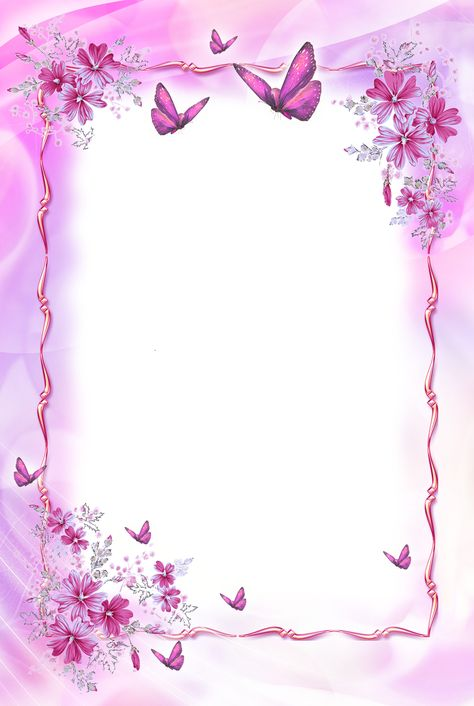Beautiful Pink Transparent Frame with Butterflies​ | Gallery Yopriceville - High-Quality Images and Transparent PNG Free Clipart
