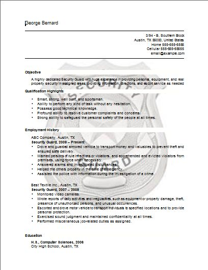 Security Guard Resume Security Guard Resume - Sample Job Resume - resume for security officer