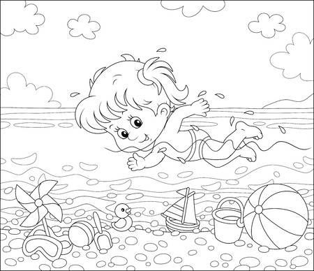 Little Girl Swimming In Sea Water On A Beach On A Sunny Summer Disney Coloring Pages Coloring Books Coloring Pages