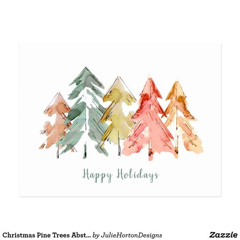 Wish your friends and family happy holidays with this beautiful watercolor abstract of pine trees in muted green, red, gold and orange. You can easily personalize your signature on the back. Painted Christmas Cards, Diy Christmas Cards, Christmas Colors, Xmas Cards, Christmas Art, Holiday Cards, Christmas Cards Drawing, Minimal Christmas, Gift Cards