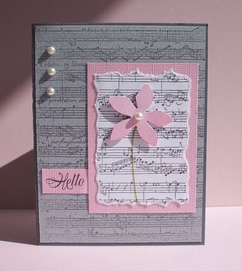 handmade card ... luv the pink and light gray color combo ... clean and simple design ... pearls ... music score background ... beautiful!!