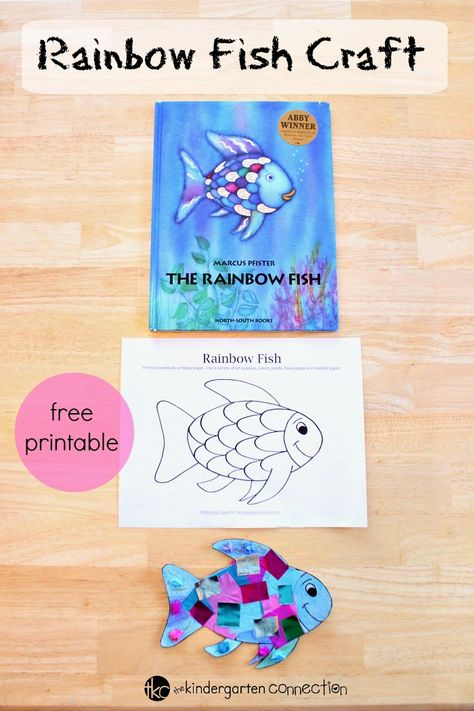 This rainbow fish craft is the perfect companion to the beloved book The Rainbow Fish. It is so bright and colorful - kids love it! This rainbow fish craft is the perfect companion to the beloved book Rainbow Fish Activities, Rainbow Fish Crafts, Ocean Activities, Book Activities, The Rainbow Fish, Rainbow Fish Eyfs, Rainbow Fish Template, Rainbow Theme, Art For Kids