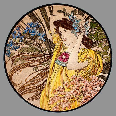 Mucha, Juni, gebrandschilderd glas, Mucha glas in lood, Mucha, brandschilderen, Mucha brandschilderen, Mucha medallion, Mucha maanden, juin