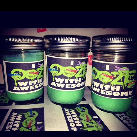 Ninja Turtle Ooze Slime as Party Favors for boy's Birthday. (Slime made out of Borax Slime Recipe + Mason Jars and Sticker Labels) Kids Loved it!!!! Total cost $25 for 12