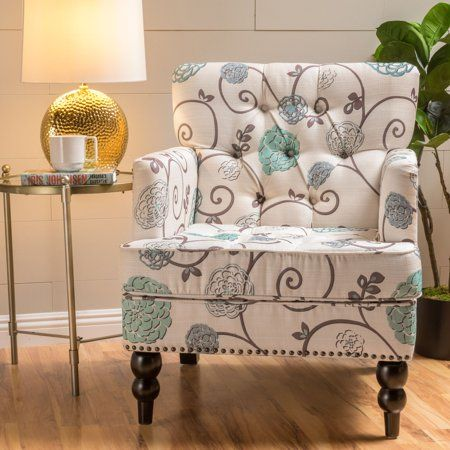 Noble House Hanley Floral Fabric Tufted Club Accent Chair Walmart Com Fabric Accent Chair Tufted Club Chairs Club Chairs