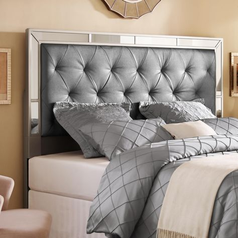 Gray Faux-Leather Upholstered Headboard with Mirrors Tufted ...