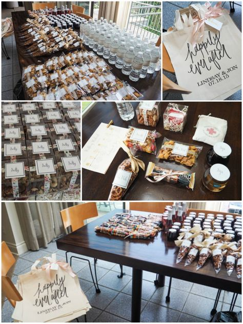 The prep process of creating 50 Wedding Hotel Bags!  Ideas for using ribbon, washi tape, and DIY printable labels to make sure your hotel bags create a unique first impression for your guests when the arrive for your wedding weekend.